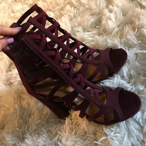 Wine strapped heels